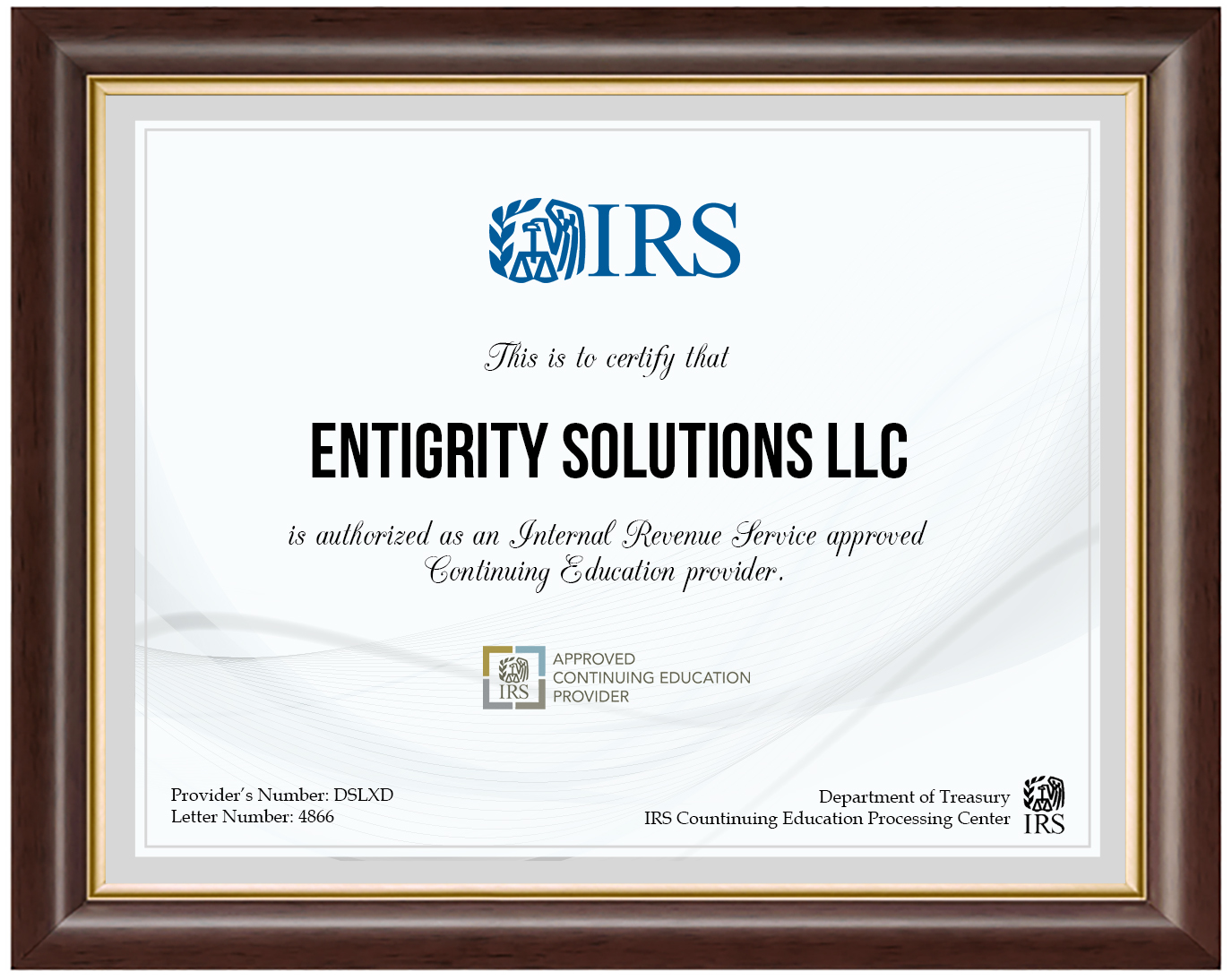 Entigrity IRS Certified