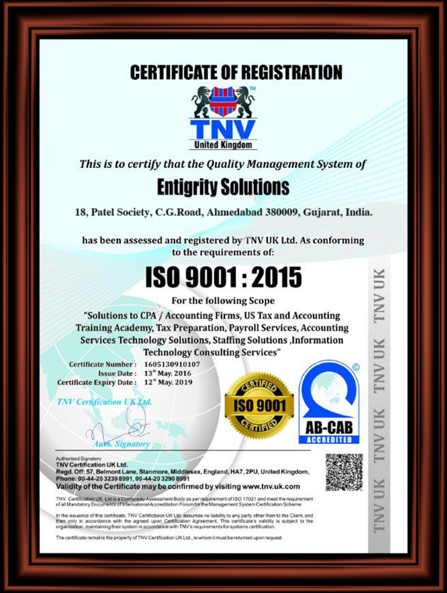 Entigrity ISO 27001 Certified